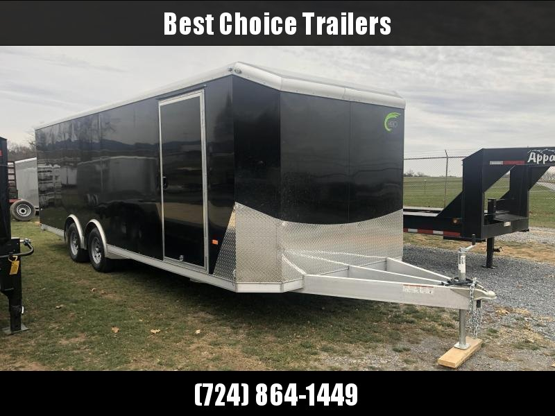 2020 NEO 8.5x24' NACX Aluminum Enclosed Car Hauler Trailer 9990# GVW * BLACK EXTERIOR * ESCAPE DOOR * 5200# TORSION * BULLNOSE * SPREAD AXLE * DRT REAR SPOILER * NXP RAMP * ROUND TOP * HD FRAME * ALUMINUM WHEELS * RV DOOR * 1 PC ROOF