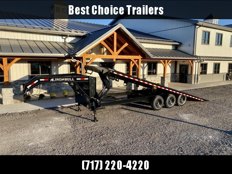 2021 Ironbull 102x26' Gooseneck Deckover Power Tilt Trailer 21000# GVW * DUAL JACKS * WIRELESS REMOTE * WINCH PLATE * TRIPLE AXLE * SLIDING WINCH TRACK * I-BEAM FRAME * RUBRAIL/STAKE POCKETS/PIPE SPOOLS/D-RINGS/BANJO EYES * 4X4X1/4 WALL TUBE BED RUNN