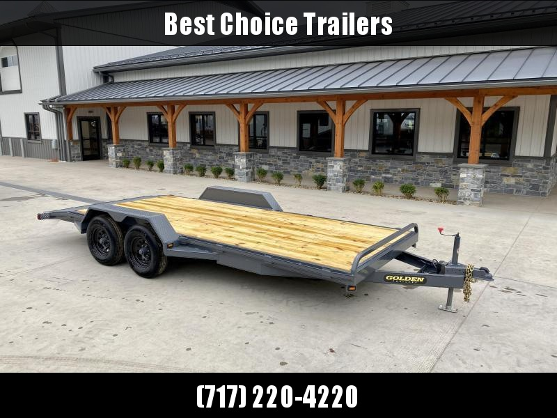 """2022 Corn Pro 7x20' Wood Deck Car Hauler 9900# GVW * REAR SLIDE OUT RAMPS * DIAMOND PLATE FENDERS * RUNNING BOARDS * RUBRAIL/STAKE POCKETS/CHAIN SPOOLS * DEMCO EZ LATCH COUPLER * CHAIN TRAY * DIAMOND PLATE DOVETAIL * URETHANE PAINT * 16"""" O.C. C/M * CLEARA"""