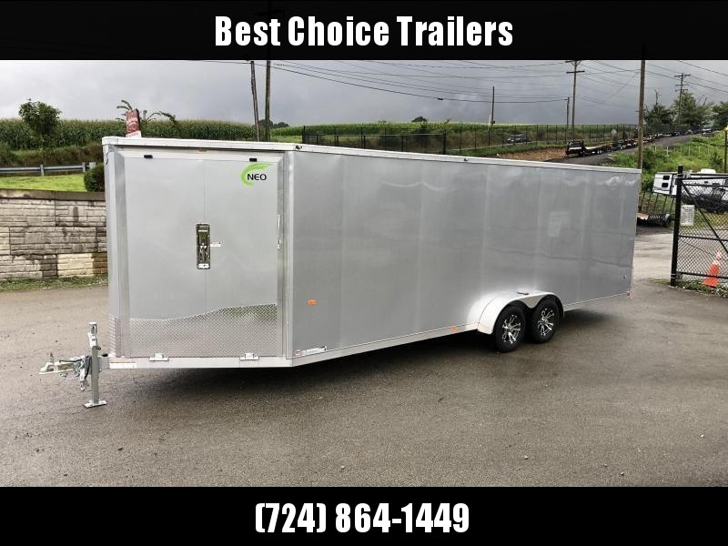 "2020 Neo 7x24' NASF Aluminum Enclosed All-Sport Trailer 7000# GVW * 7' HEIGHT UTV PKG * SILVER EXTERIOR * FRONT/REAR NXP RAMP * VINYL WALLS * SPORT TIE DOWN SYSTEM * 16"" O.C. FLOOR * PRO STAB JACKS * UPPER CABINET * ALUMINUM WHEELS * SCREWLESS * 1 PC ROOF"