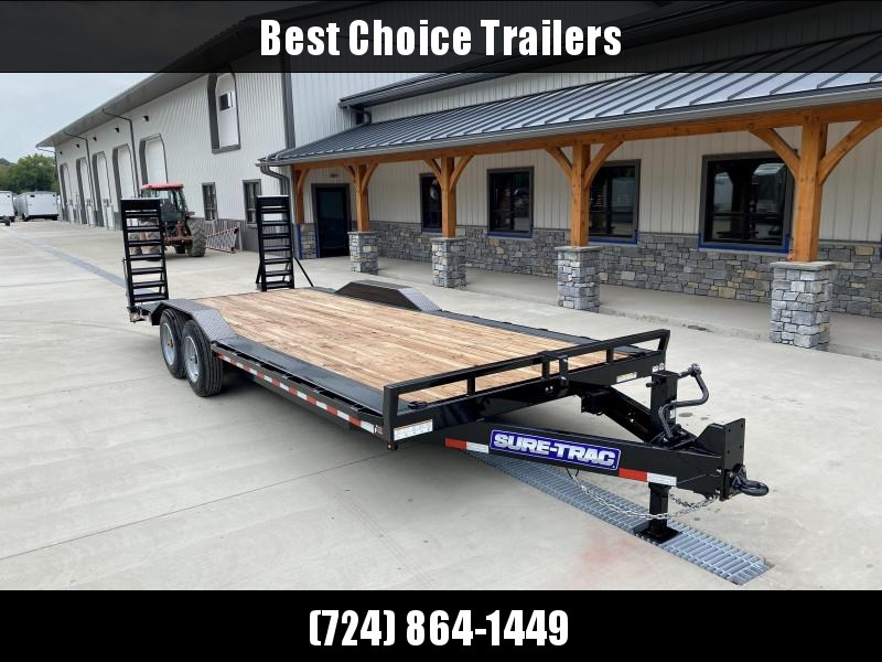 "2020 Sure-Trac 102x22 Buggy Hauler Equipment Trailer 16000# GVW * 102"" DECK WITH DRIVE OVER FENDERS * STAND UP DELUXE RAMPS * 8000# AXLES * HD 12K DROP LEG JACK * 17.5"" RUBBER * OIL BATH HUBS * RUBRAIL/STAKE POCKETS/D-RINGS * HD ADJUSTABLE PINTLE COUPLER"