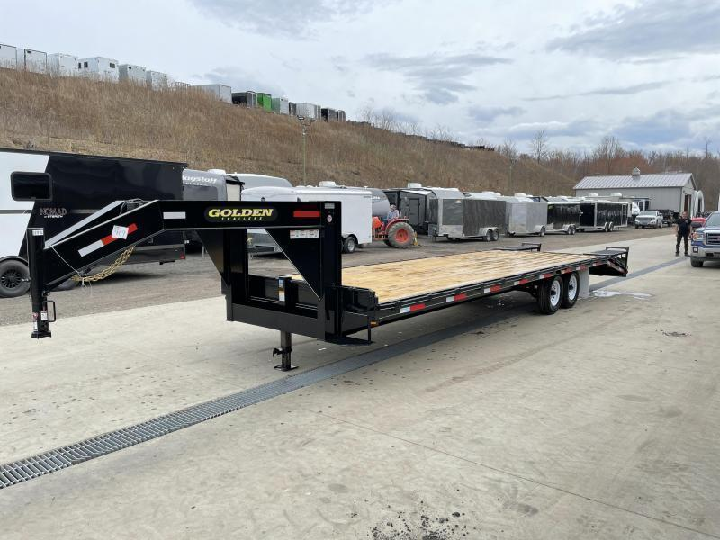2022 Golden by Corn Pro 102x30' Beavertail Gooseneck Deckover Trailer 14000# GVW * WEDGE FLIPOVER RAMPS + SPRING ASSIST * RUBRAIL/STAKE POCKETS * SPARE TIRE MOUNT * 12K DROP LEG JACK * MUDFLAPS * CHAIN TRAY * CLEARANCE