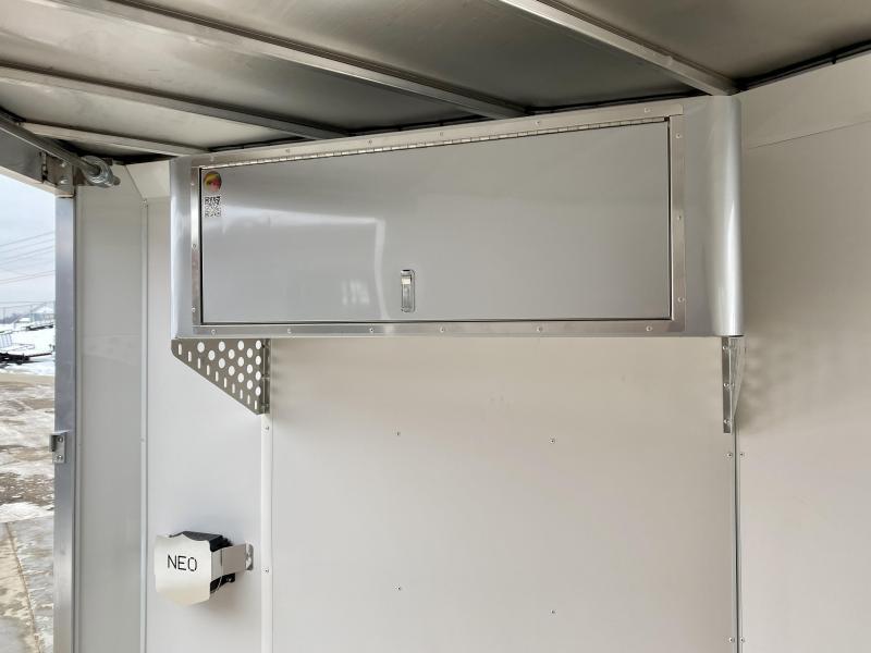 "2021 Neo 7x24' NASF Aluminum Enclosed All-Sport Trailer 7000# GVW * 7' HEIGHT UTV PKG * SILVER EXTERIOR * FRONT/REAR NXP RAMP * VINYL WALLS * SPORT TIE DOWN SYSTEM * 16"" O.C. FLOOR * PRO STAB JACKS * UPPER CABINET * ALUMINUM WHEELS * SCREWLESS * 1 PC ROOF"