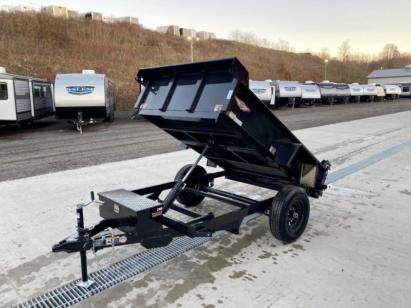"2021 H&H 5x8' Single Axle Dump Trailer 5200# GVW * COMBO GATE * SPARE TIRE MOUNT * TARP PREP * D-RINGS * DIAMOND PLATE FENDERS * POWER UP/POWER DOWN * BULLET LED'S * 15"" RADIALS"