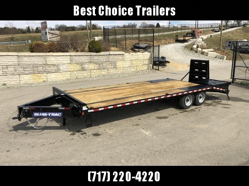 "2020 Sure-Trac 102x25' HD Beavertail Deckover Trailer 17600# GVW * 8000# AXLES * 17.5"" 16-PLY TIRES * 3 3/8"" BRAKES * FULL WIDTH RAMPS (STAND UP OR FLIPOVER) * 12"" I-BEAM * PIERCED FRAME * RUBRAIL/STAKE POCKETS/PIPE SPOOLS/10 D-RINGS * CROSS TRAC BRACING"