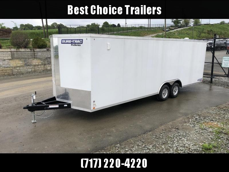 "2021 Sure-Trac 8.5x24' Pro Series Enclosed Car Hauler Trailer 9900# GVW * WHITE EXTERIOR * 7' HEIGHT * ESCAPE HATCH * V-NOSE * RAMP * 5200# AXLES * .030 SCREWLESS EXTERIOR * ALUMINUM WHEELS * 1 PC ROOF * 6"" FRAME * 16"" O.C. C/M * PLYWOOD * TUBE STUDS * 48"