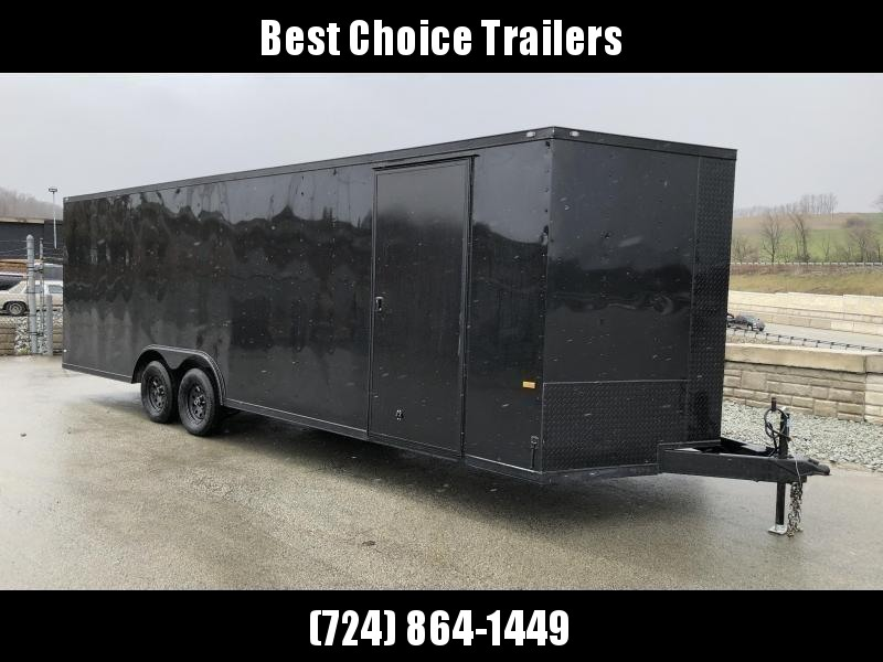 """2018 Rock Solid 8.5x20' Enclosed Car Trailer 7000# GVW - BLACKOUT PACKAGE * SHIPPING DAMAGE * CLEARANCE * V-NOSE * RAMP DOOR * 16"""" O.C. FLOOR/WALLS * TUBE STUDS * 6"""" TUBE MAINFRAME * RV DOOR * PLYWOOD WALLS/FLOOR * LED'S * 3"""" TRIM"""