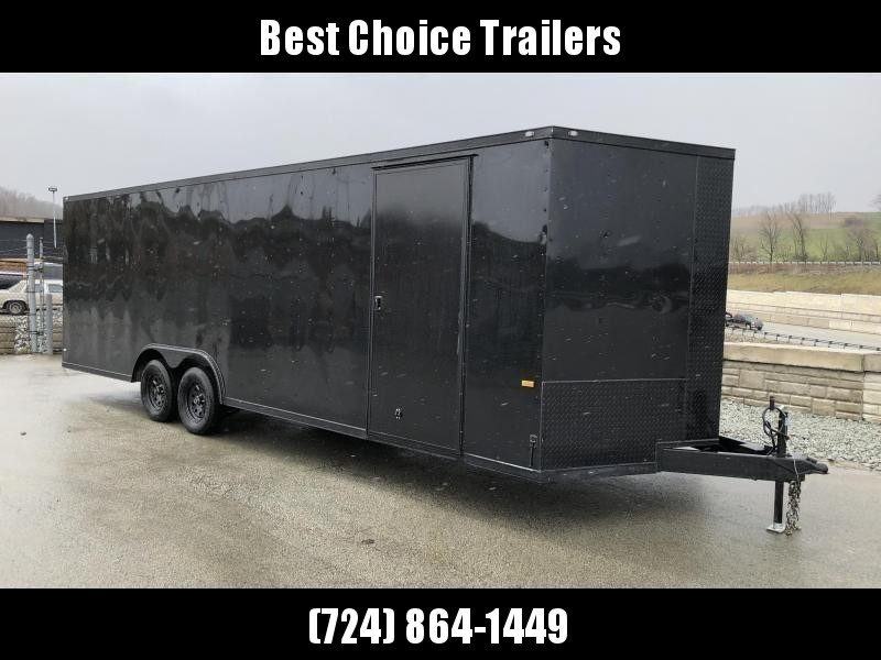 "2018 Rock Solid 8.5x20' Enclosed Car Trailer 7000# GVW - BLACKOUT PACKAGE * SHIPPING DAMAGE * CLEARANCE * V-NOSE * RAMP DOOR * 16"" O.C. FLOOR/WALLS * TUBE STUDS * 6"" TUBE MAINFRAME * RV DOOR * PLYWOOD WALLS/FLOOR * LED'S * 3"" TRIM"