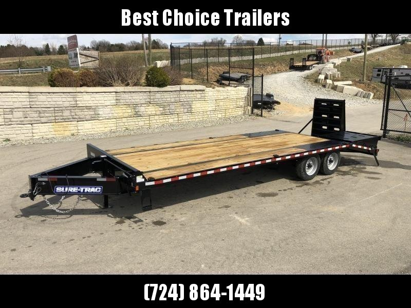 "2021 Sure-Trac 102x25' HD Beavertail Deckover Trailer 22500# GVW * FULL WIDTH RAMPS * DUAL JACKS * TOOLBOX * DEXTER AXLES * 12"" I-BEAM * PIERCED FRAME * RUBRAIL/STAKE POCKETS/PIPE SPOOLS/10 D-RINGS * CROSS TRAC BRACING * HD BEAVERTAIL"