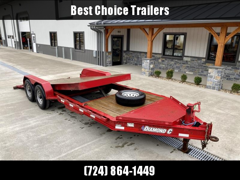USED 2017 Diamond C Trailers 7X20' Gravity Tilt Equipment Trailer 14900# GVW * STOP VALVE * LOW LOAD ANGLE * OVERSIZED TOOLBOX * D-RINGS/RUBRAIL/STAKE POCKETS * ADJUSTABLE PINTLE COUPLER * 12K JACK * SPARE TIRE * REMOVEABLE FENDERS