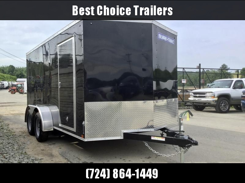 2020 Sure-Trac 7X14' Enclosed Cargo Trailer 7000# GVW * BLACK EXTERIOR * V-NOSE * RAMP DOOR * RV DOOR * 0.30 SEMI-SCREWLESS EXTERIOR * TUBE STUDS