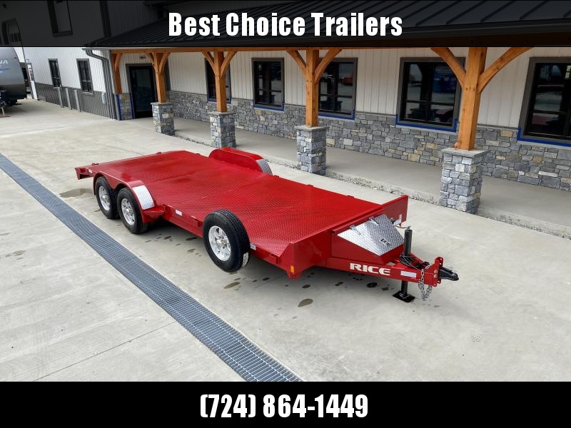 2019 Rice Trailers 7X20' Steel Deck Car Hauler 9990# GVW * RED IN COLOR * ADJUSTABLE COUPLER * TOOLBOX * ALUMINUM WHEELS * SPARE TIRE * SLIDE OUT RAMPS * STAKE POCKETS/D-RINGS