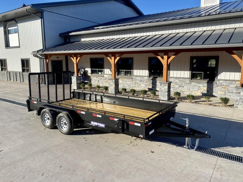 """2022 Sure-Trac 7x16' Steel High Side Utility Trailer 7000# GVW * 3x4"""" ANGLE FRAME * 14"""" STEEL SOLID SIDES * 2X2"""" TUBE GATE C/M + SPRING ASSIST + FOLD FLAT * TOOLESS GATE REMOVAL * SPARE MOUNT * PROTECTED WIRING * SET BACK JACK * TRIPLE TUBE TONGUE"""