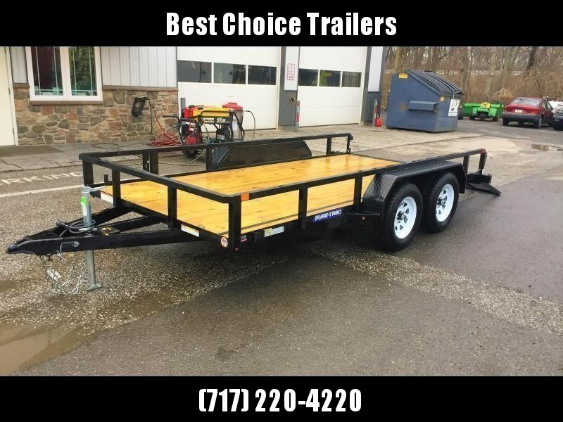"""2021 Sure-Trac 7x18' Tube Top Utility Landscape Trailer 7000# GVW * 3x4"""" ANGLE FRAME * 2"""" TUBE TOP RAIL * 2X2"""" TUBE GATE C/M + SPRING ASSIST + FOLD FLAT * TOOLESS GATE REMOVAL * SPARE MOUNT * PROTECTED WIRING * SET BACK JACK * TRIPLE TUBE TONGUE"""