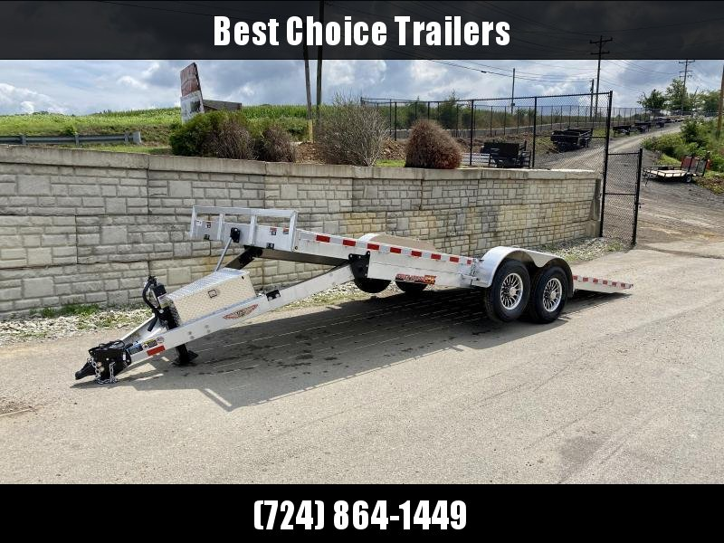 "2021 H&H 7x22' Aluminum Power Tilt Car Hauler Trailer 14000# GVW * 4 SWIVEL D-RINGS * 4 EXTRA STAKE POCKETS * 12K JACK  * SPARE TIRE & MOUNT * TOOLBOX * ALUMINUM WHEELS * HEAVY DUTY 8"" FRAME * REMOVABLE FENDERS * ADJUSTABLE COUPLER * 4"" CHANNEL C/M"