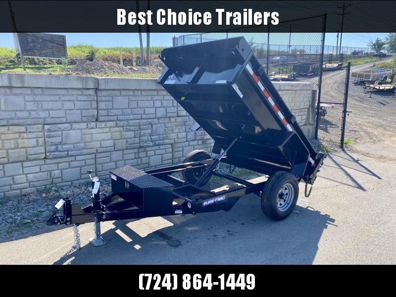 2021 Sure-Trac 5x8' Single Axle Dump Trailer 5000# GVW * COMBO DOORS * ADJUSTABLE COPUPLER * DROP LEG JACK * INTEGRATED KEYWAY * SPARE TIRE MOUNT * TARP PREP * D-RINGS * DIAMOND PLATE FENDERS * POWER UP/POWER DOWN * TRIPLE TUBE TONGUE * BULLET LED'S * RAD
