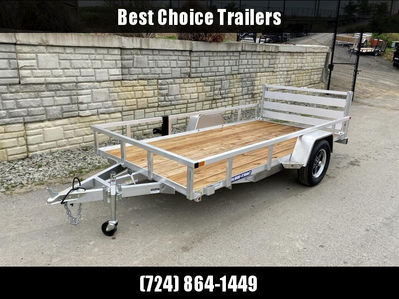 "2021 Sure Trac 7x14' Aluminum Utility Landscape Trailer 2990# GVW * BI FOLD GATE * ALUMINUM WHEELS * TUBE TOP * TRIPLE TUBE TONGUE * TUBE TONGUE * SWIVEL JACKS * STAKE POCKETS * EXTENDED 54"" GATE"