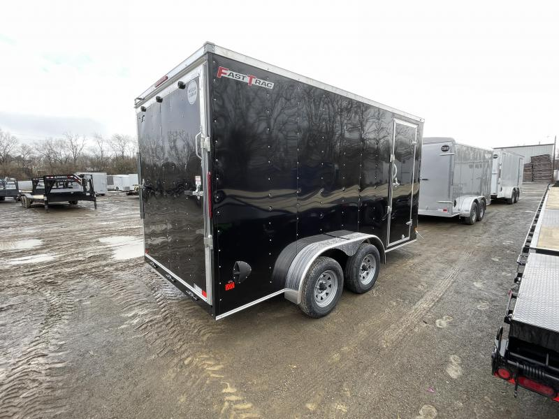"2021 Wells Cargo 7x14' Fastrac DELUXE Enclosed Cargo Trailer 7000# GVW * BLACK EXTERIOR * RAMP DOOR * V-NOSE * .030 EXTERIOR * 7' HEIGHT - UTV PKG * TUBE STUDS * 3/8"" WALLS * 1 PC ROOF * 16"" O.C. WALLS * BULLET LED'S"