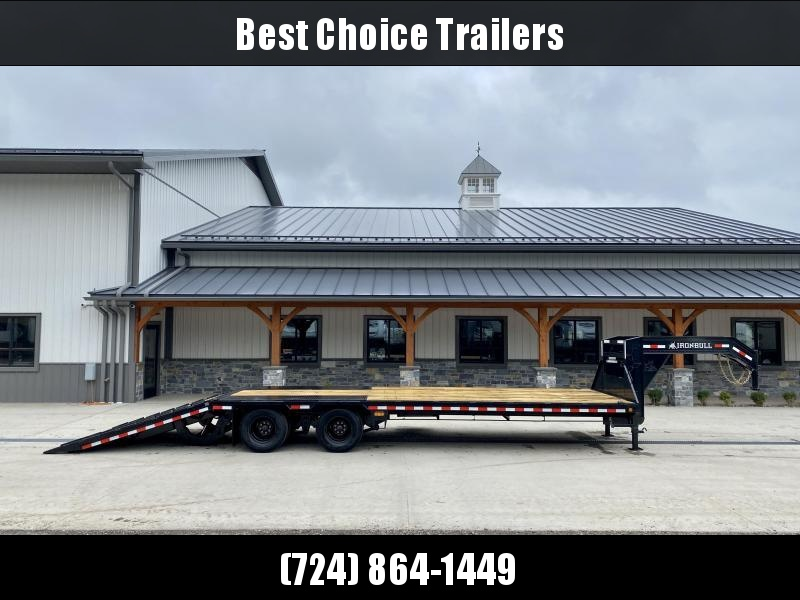 2022 Ironbull 102x30' Gooseneck Deckover Hydraulic Dovetail Trailer 22000# GVW * DEXTER AXLES * HDSS SUSPENSION * SOLAR CHARGER * WIRELESS REMOTE * I-BEAM FRAME * TORQUE TUBE * UNDER FRAME BRIDGE * RUBRAIL/STAKE POCKETS/PIPE SPOOLS/D-RINGS * DUAL JACKS
