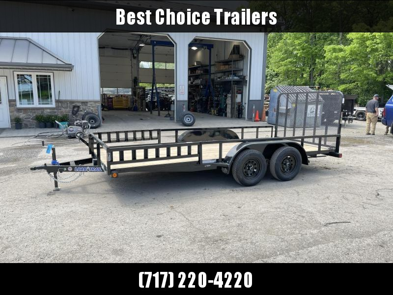 """2021 Load Trail 7x16' Utility Landscape Trailer 7000# GVW * ATV RAMPS * BLACK * SPARE MOUNT * TUBE TOP * 4"""" CHANNEL FULL WRAP TONGUE * TUBE BUMPER * ALL LED'S * TIE DOWNS * TUBE GATE C/M * CAST COUPLER * COLD WEATHER HARNESS * DEXTER'S * IRONCLAD WARRANTY"""