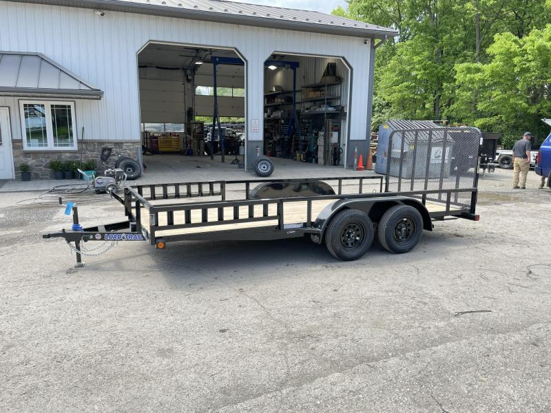 """2021 Load Trail 7x16' Utility Landscape Trailer 7000# GVW * ATV RAMPS * BLACK * SPARE MOUNT * TUBE TOP * 4"""" CHANNEL FULL WRAP TONGUE * TUBE BUMPER * ALL LED'S * TIE DOWNS * TUBE GATE C/M * CAST COUPLER * COLD WEATHER HARNESS * DEXTER'S * 2-3-2 WARRANTY"""
