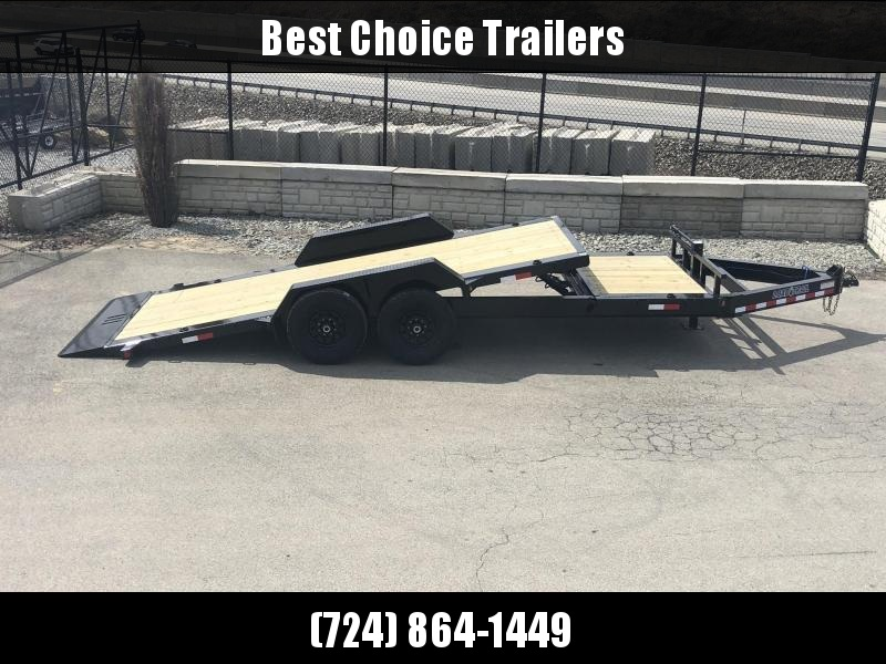 "2021 Load Trail 7x20' Gravity Tilt Equipment Trailer 16000# GVW * 8000# AXLES * 16+4' SPLIT DECK * OIL BATH * CHARCOAL * WINCH PLATE *  * 8"" I-BEAM MONOFRAME * DEXTER TORSION AXLES * GRAVITY TILT W/ STOP VALVE * TOOL TRAY * 2-3-2 WARRANTY * POWDER PRIMER"
