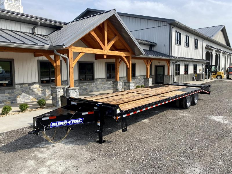 "2021 Sure-Trac 102x28' HD Beavertail Deckover Trailer 22500# GVW * FULL WIDTH RAMPS * PAVER SPECIAL * OAK BEAVERTAIL/DECK/RAMPS * DEXTER AXLES * DUAL JACKS * INTEGRATED TOOLBOX * 12"" I-BEAM * PIERCED FRAME * (10) 1"" D-RINGS * CROSS TRAC BRACING"