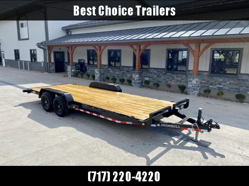 "2022 Ironbull 7x20' Wood Deck Car Hauler Trailer 9990# GVW * OVERWIDTH REAR SLIDEOUT RAMPS * 16"" O.C. FLOOR * CHANNEL C/M * RUBRAIL/STAKE POCKETS/PIPE SPOOLS/D-RINGS * ADJUSTABLE COUPLER * 7K JACK * 2-3-2- WARRANTY * DEXTER'S"