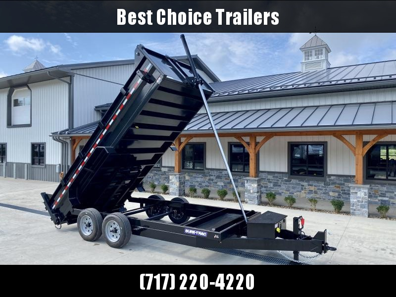 2022 Sure-Trac 7x16' LowPro HD Dump Trailer 16000# GVW * 8K AXLE UPGRADE * TELESCOPIC HOIST * DELUXE TARP KIT * CLEARANCE