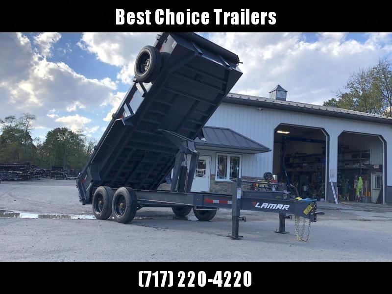 "2021 Lamar 7x14' Dump Trailer 16000# GVW * DEXTER 8K AXLE UPGRADE * OVERSIZE 6X21.5 11-TON SCISSOR HOIST * DUAL 12K JACKS * 7GA FLOOR * 17.5"" 16-PLY TIRES * SPARE TIRE * JACKSTANDS * TARP KIT * CHARCOAL * RIGID RAILS * NESTLED I-BEAM FRAME 28"" H * 12"" O.C"