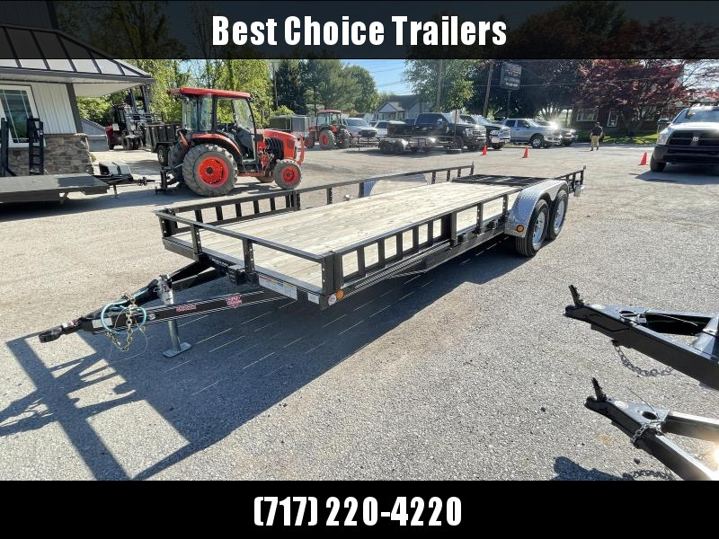 USED 2020 PJ 7x20' Tandem Axle Utility Landscape Trailer 9990# GVW * ATV RAMPS * SLIPPER SPRINGS * FOLD IN GATE * REMOVEABLE SIDES * CHANNEL FRAME