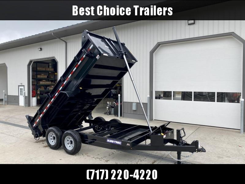 2022 Sure-Trac 7x14' Dump Trailer 14000# GVW * DELUXE TARP KIT * TELESCOPIC HOIST * FRONT/REAR BULKHEAD * INTEGRATED KEYWAY * 2' SIDES * UNDERBODY TOOL TRAY * ADJUSTABLE COUPLER * 110V CHARGER * UNDERMOUNT RAMPS * COMBO GATE