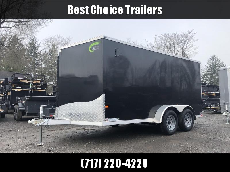 2021 Neo 7x14' NAVF Aluminum Enclosed Cargo Trailer * RAMP DOOR * BLACK * ALUMINUM WHEELS