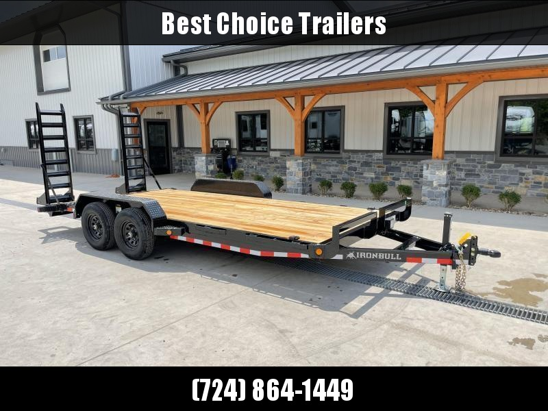 """2022 Ironbull 7x20' Equipment Trailer 9990# GVW * KNIFEEDGE RAMP W/ ADJUSTABLE SUPPORT * REMOVABLE FENDERS * 16"""" O.C. STRUCTURAL CHANNEL C/M * RUBRAIL/STAKE POCKETS/PIPE SPOOLS/D-RINGS * ADJUSTABLE CAST COUPLER * 7K JACK * DEXTER'S"""