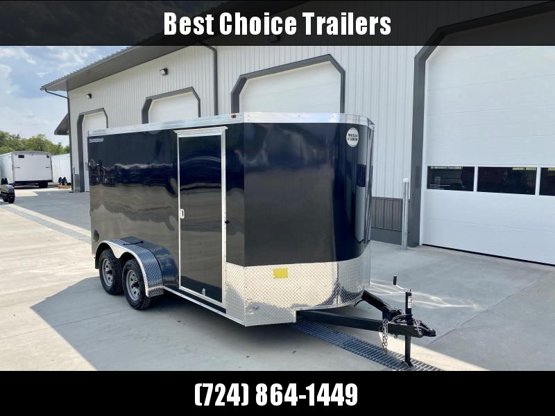 "2021 Wells Cargo 7x14' Enclosed Motorcycle Trailer 7000# GVW * BLACK EXTERIOR * 6'6"" INTERIOR HEIGHT * D-RINGS * SCREWLESS * STABILIZER JACKS * WHEEL CHOCK * TRANSITION PLATE * RAMP DOOR * RV DOOR"