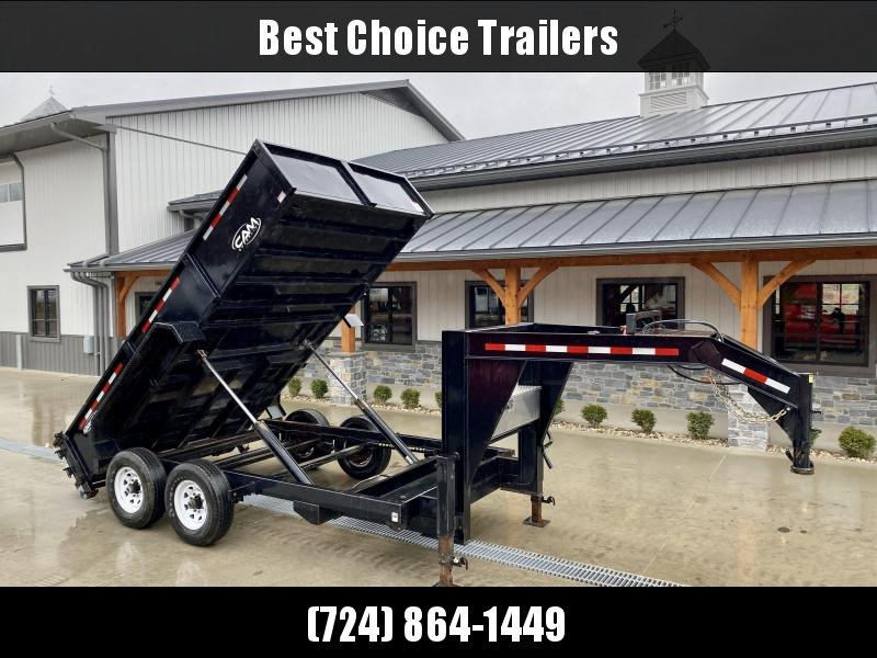 USED 2018 Cam Superline 7x14' Gooseneck Dump Trailer 14000# GVW * DUAL RAM HOIST * DUAL 12K JACKS * COMBO GATE * REAR STAB JACKS * TOOL TRAY * RAMPS