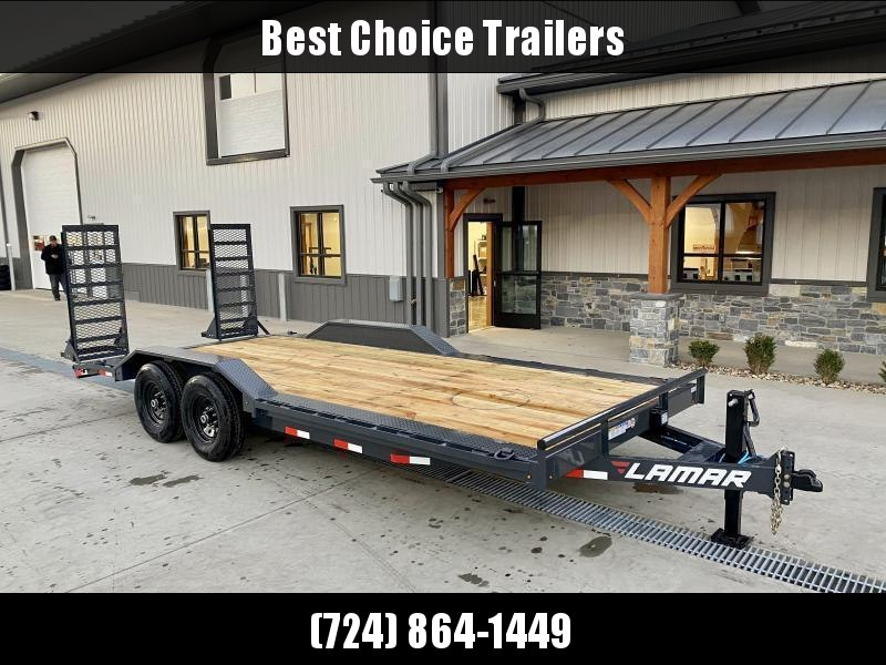 """2021 Lamar 102x20' Equipment Trailer 16000# GVW * DELUXE RAMPS * CHARCOAL * 102"""" DECK * DRIVE OVER FENDERS * CHARCOAL * 17.5"""" RUBBER * OIL BATH * CLEARANCE"""