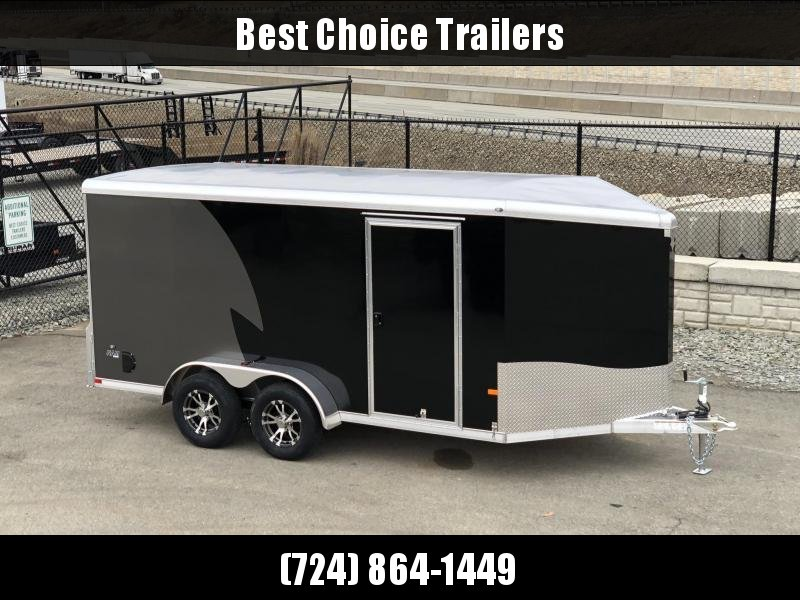 """2021 NEO Trailers 7x12' NAMR Aluminum Enclosed Motorcycle Trailer * BLACK+CHARCOAL * VINYL WALLS * +6"""" HEIGHT * ALUMINUM WHEELS * TIE DOWN SYSTEM"""