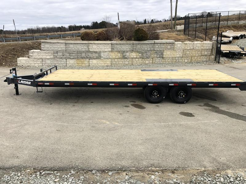 """2019 Lamar 102x20' Flatbed Deckover Trailer 14000# GVW * 8' SLIDE IN RAMPS * CHARCOAL * TOOL TRAY * HD CAST COUPLER * I-BEAM FRAME * 16"""" O.C. C/M * RUBRAIL/STAKE POCKETS/PIPE SPOOLS * CHANNEL SIDE RAIL * 12K JACK"""