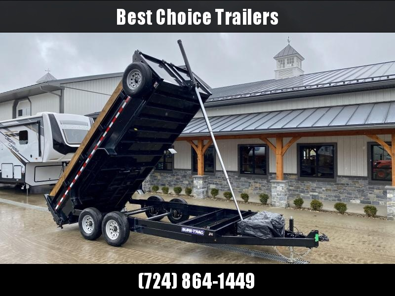 """USED 2019 Sure-Trac 7x16' Dump Trailer 14000# GVW * TARP PREP * OVERSIZE 120"""" TELESCOPIC HOIST * EXTENDED TONGUE * OVERSIZE TOOLBOX * FRONT/REAR BULKHEAD * INTEGRATED KEYWAY * 2' SIDES * UNDERBODY TOOL TRAY * ADJUSTABLE COUPLER * COMBO GATE * SPARE TIRE"""