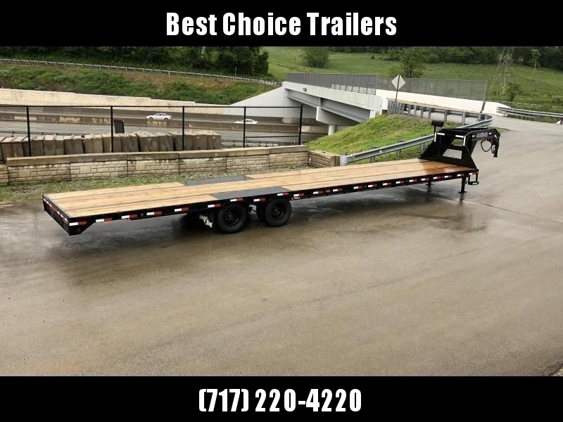 2021 Load Trail 102x40' Gooseneck Flatbed Deckover Trailer 25990# GVW * HOTSHOT TRAILER * 12K DEXTER AXLES * EOH DISC BRAKES * STRAIGHT DECK W 8' SLIDE IN RAMPS * HDSS SUSPENSION * UNDER FRAME BRIDGE * TORQUE TUBE * WINCH PLATE * PRIMER * 2-3-2 WARRANTY