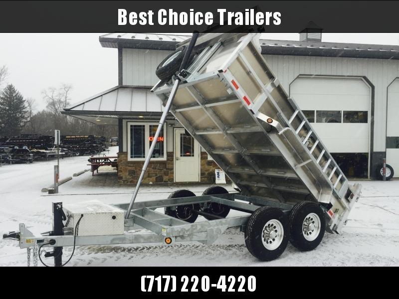 2022 QSA 7x14' Aluminum Dump Trailer 14000# GVW * RAMPS * 2' SIDES * TELESCOPIC HOIST * OVERSIZE TOOLBOX * 12K DROP LEG JACK * FRONT/REAR BULKHEAD * CLEARANCE