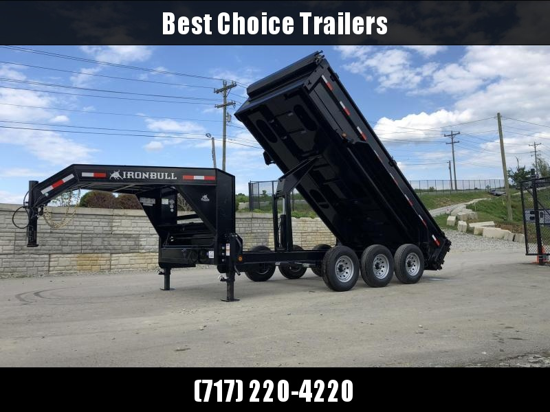 "2020 Ironbull 7x16' Gooseneck Dump Trailer 21000# GVW * TARP KIT * SCISSOR HOIST * STACKED I-BEAM FRAME * DUAL 12K JACKS * FULL WIDTH TOOLBOX * 6"" TUBE BEDFRAME * 10GA WALLS W/ KEYWAY * COMBO GATE * UNDERBODY BED RUNNERS"