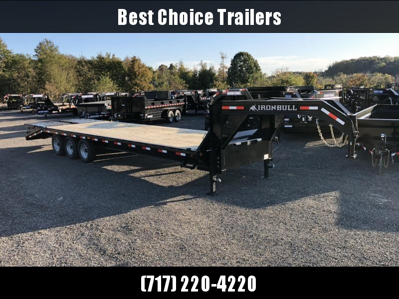 "2020 Ironbull 102x30' Gooseneck Beavertail Deckover Trailer 21000# GVW * FULL WIDTH RAMPS * I-BEAM FRAME * RUBRAIL/STAKE POCKETS/PIPE SPOOLS/D-RINGS * DUAL JACKS * FULL TOOLBOX * DEXTER'S * 6"" TUBE BED FRAME * 2-3-2 WARRANTY"