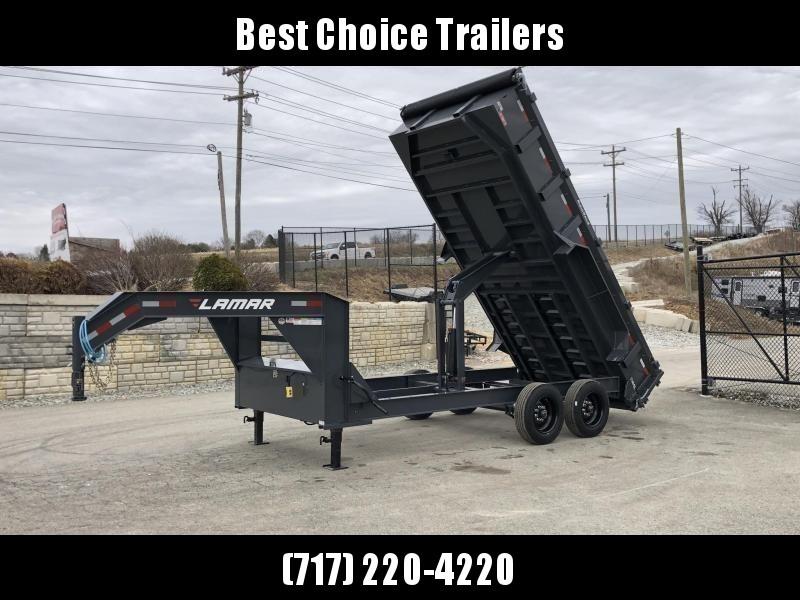 2021 Lamar 7x16' Gooseneck Dump Trailer 16000# GVW * 3' HIGH SIDES * 8000# AXLE UPGRADE * 17.5 RUBBER * OVERSIZE 6x21.5 SCISSOR * 7 GAUGE FLOOR * RIGID RAILS * DELUXE TARP * COMBO GATE * I-BEAM FRAME