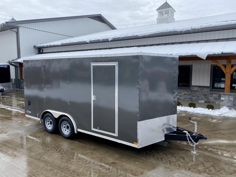 "2021 ITI Cargo 8.5x16 Enclosed Cargo Trailer 7000# GVW * BARN DOORS * CHARCOAL EXTERIOR * .030 SEMI-SCREWLESS * RV DOOR * 1 PC ROOF * 3/8"" WALLS * 3/4"" FLOOR * PLYWOOD * TRIPLE TUBE TONGUE * 6'6"" INTERIOR * 24"" STONEGUARD * HIGH GLOSS PAINTED FRAME"