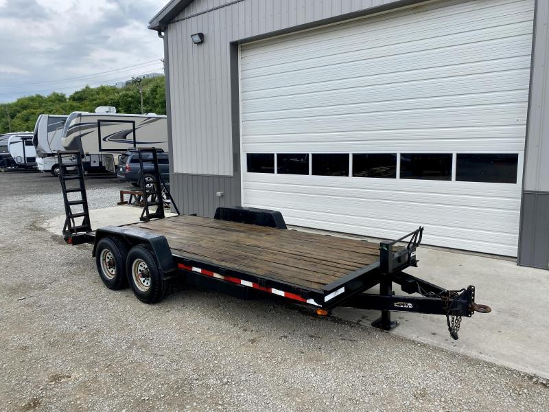 USED 2005 Quality 7x18' Equipment Trailer 10000# GVW * STAND UP RAMPS * STAKE POCKETS * ADJUSTABLE PINTLE COUPLER * 12K DROP LEG JACK *