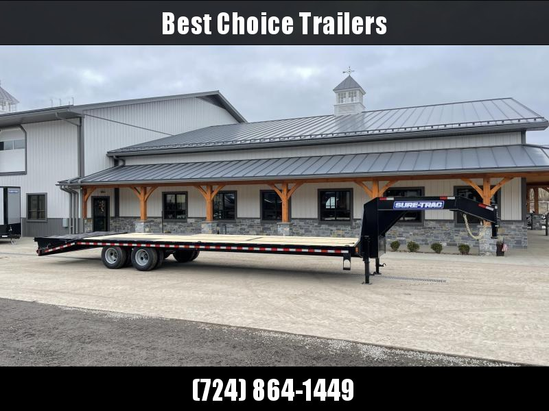 "2021 Sure-Trac 102x32' Gooseneck Beavertail Deckover Trailer 22500# GVW * FULL WIDTH RAMPS * DEXTER AXLES * 12"" I-BEAM * PIERCED FRAME * RUBRAIL/STAKE POCKETS/PIPE SPOOLS/10 D-RINGS * CROSS TRAC BRACING * HD BEAVERTAIL"