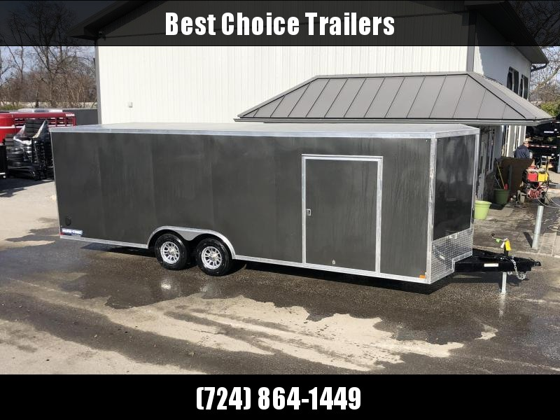 "2021 Sure-Trac 8.5x24' Deluxe Pro Series Enclosed Car Hauler Trailer 9900# GVW * CHARCOAL EXTERIOR * V-NOSE * RAMP * 5200# TORSION AXLES * NUDO FLOOR & RAMP * VINYL WALLS * ESCAPE HATCH * .030 SCREWLESS EXTERIOR * ALUMINUM WHEELS * 1 PC ROOF * 48"" RV DOOR"