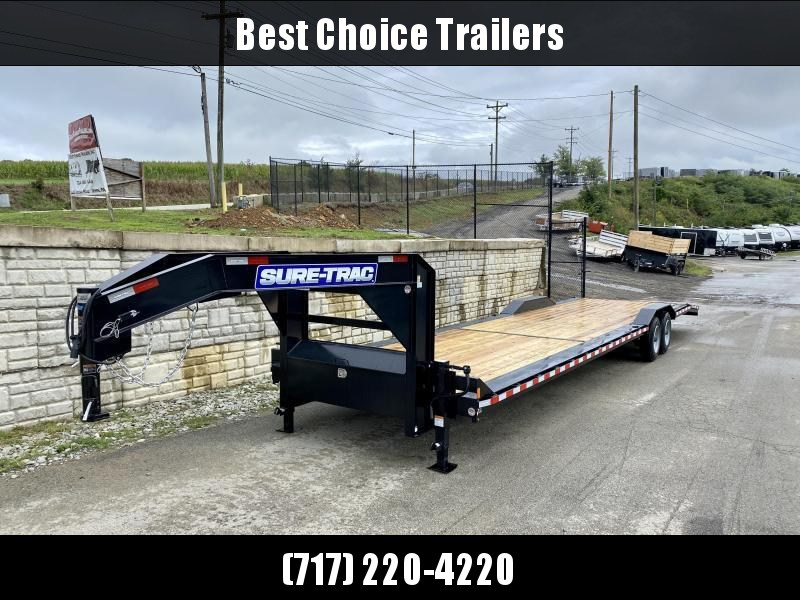 """2021 Sure-Trac 102x40' Gooseneck Car Hauler Equipment Trailer 16000# GVW * HEAVY FRAMING * 8000# AXLES * 8' SLIDE OUT PUNCH PLATE RAMPS * 102"""" DECK * DRIVE OVER FENDERS * BUGGY HAULER * DUAL JACKS * FRONT TOOLBOX * RUBRAIL/STAKE POCKETS/D-RINGS * 17.5"""" 16"""